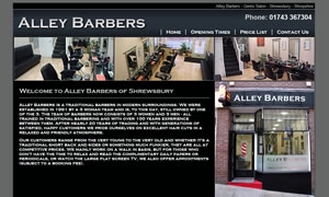 Alley Barbers website image